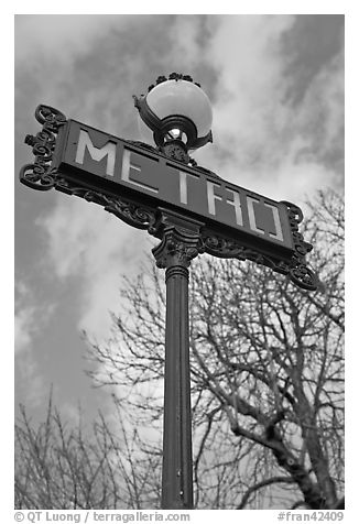 Metro sign and sky. Paris, France (black and white)