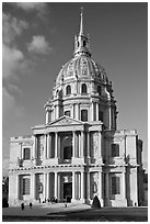 South side of the Invalides hospice with domed royal chapel. Paris, France (black and white)
