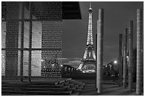 Peace monument and Eiffel Tower by night. Paris, France (black and white)