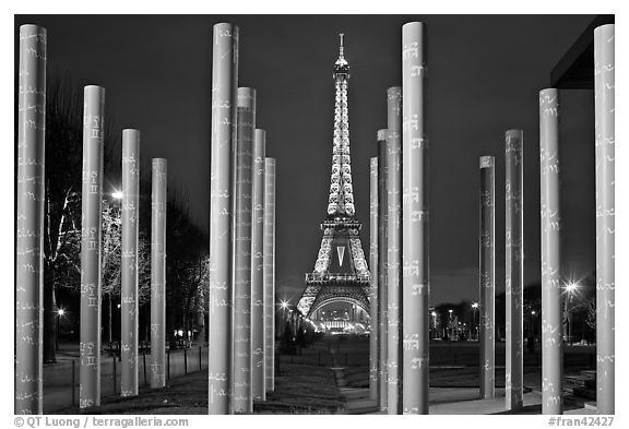 Memorial with word peace written on 32 columns in 32 languages. Paris, France (black and white)