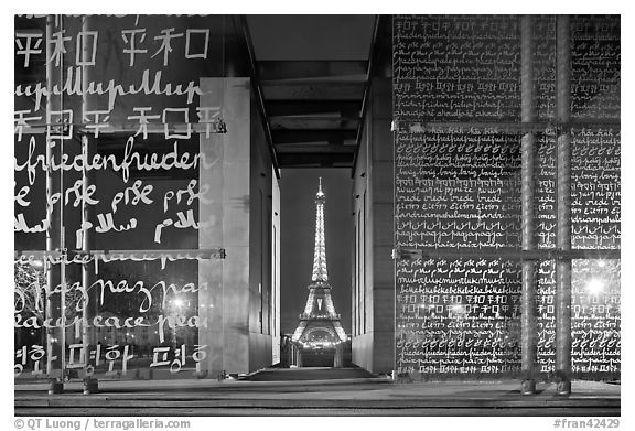 Monument to Peace framing the Eiffel Tower at night. Paris, France (black and white)