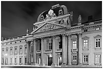 Ecole Militaire by night. Paris, France (black and white)