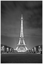 Lawns of Champs de Mars and Eiffel Tower at night. Paris, France (black and white)