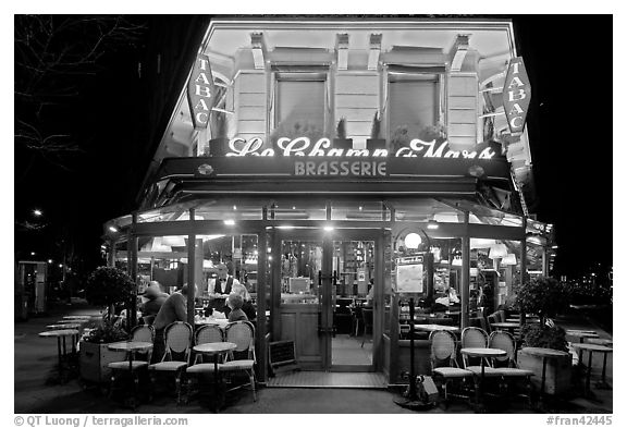 Brasserie by night. Paris, France (black and white)