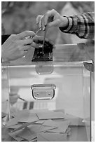 Ballot box with hands. Paris, France ( black and white)