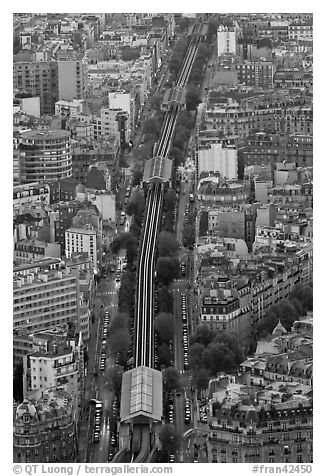 Metro line seen from above. Paris, France
