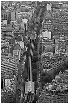 Metro line seen from above. Paris, France (black and white)