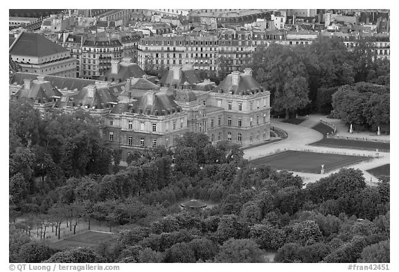 Senate and Luxembourg gardens from above. Quartier Latin, Paris, France (black and white)