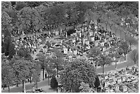 Montparnasse Cemetery from above. Paris, France ( black and white)