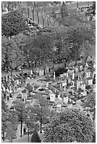 Aerial view of Montparnasse Cemetery. Paris, France ( black and white)