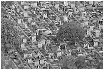 Aerial view of tombs, Montparnasse Cemetery. Paris, France ( black and white)