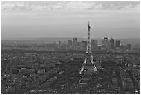 Eiffel Tower, Champs de Mars, La Defense at sunset. Paris, France (black and white)
