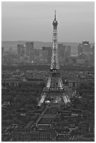Eiffel Tower, Champs de Mars, La Defense seen from Tour Montparnasse. Paris, France (black and white)