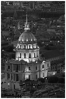 Invalides dome at night from above. Paris, France (black and white)