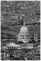 Pantheon at dusk from above. Quartier Latin, Paris, France (black and white)