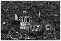 Notre-Dame de Paris Cathedral from above at night. Paris, France ( black and white)