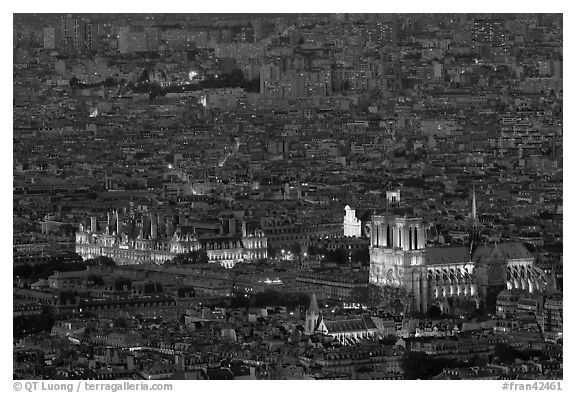 Aerial night view with Notre-Dame and Hotel de Ville. Paris, France (black and white)