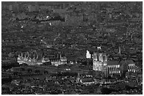 Aerial night view with Notre-Dame and Hotel de Ville. Paris, France ( black and white)