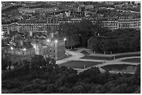 Aerial night view of Jardin du Luxembourg and Senate. Quartier Latin, Paris, France (black and white)