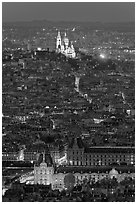 Aerial view with Louvre and Montmartre at night, Montmartre. Paris, France ( black and white)