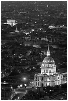 Invalides and Arc de Triomphe at night. Paris, France (black and white)