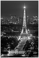 Ecole Militaire and Eiffel Tower seen from above at night. Paris, France (black and white)