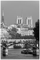Passerelle des Arts and bell towers of Notre-Dame. Paris, France ( black and white)