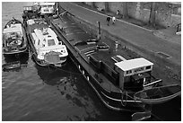 Barges and quay, Seine River. Paris, France (black and white)