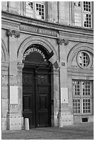 Entrance of the Institut de France. Quartier Latin, Paris, France (black and white)