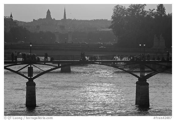 Sunset over the Seine River and bridges. Paris, France