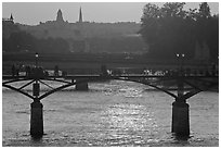 Sunset over the Seine River and bridges. Paris, France (black and white)