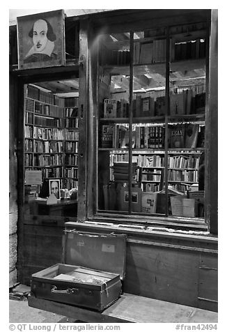 Shakespeare and Co storefront at night. Quartier Latin, Paris, France (black and white)