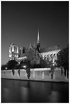 Notre Dame Cathedral and Seine River at twilight. Paris, France ( black and white)