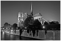 Seine River and Notre Dame de Paris at night. Paris, France (black and white)