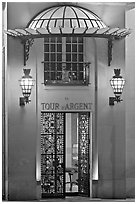 Entrance of the Tour d'Argent restaurant. Quartier Latin, Paris, France (black and white)