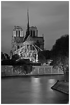 Banks of the Seine River and Notre Dame at twilight. Paris, France (black and white)