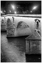 Pont-Neuf at night. Paris, France ( black and white)