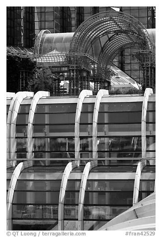 Detail of modern architecture, Forum des Halles. Paris, France (black and white)