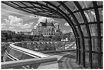 Curvy modern structure framing the church of Saint-Eustache. Paris, France (black and white)