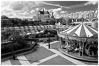 Carousel, Forum des Halles and Saint-Eustache church. Paris, France (black and white)