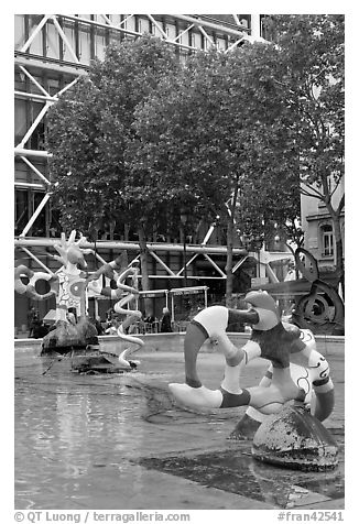 Fontaine des automates with modern colorful sculptures. Paris, France (black and white)
