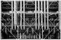 Rear of Pompidou Center with exposed blue tubes used for climate control. Paris, France (black and white)