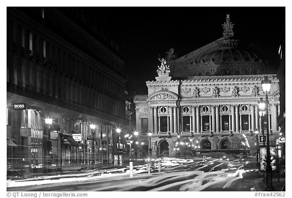 Opera (Palais Garnier) at night with lights. Paris, France (black and white)
