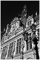 Renaissance-style facade, Hotel de Ville. Paris, France (black and white)