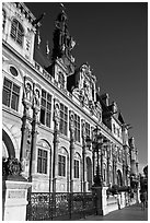 Hotel de Ville (Paris city hall). Paris, France (black and white)