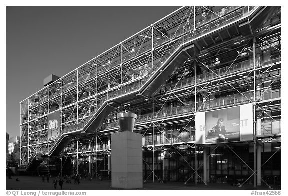 Centre George Pompidou (Beaubourg) in postmodern style. Paris, France (black and white)