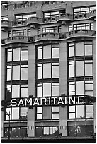 Samaritaine department store facade. Paris, France (black and white)