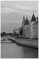 Conciergerie and Seine river. Paris, France (black and white)