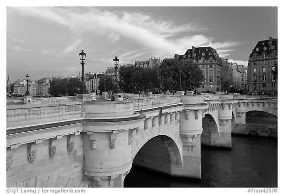 Pont Neuf at sunset. Paris, France (black and white)