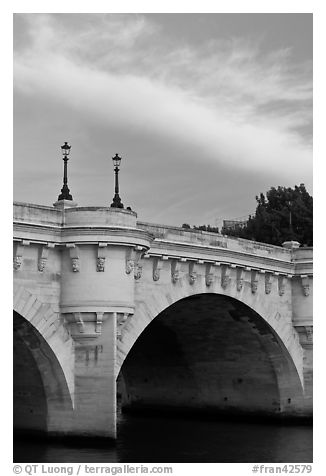 Street lights on Pont Neuf. Paris, France (black and white)